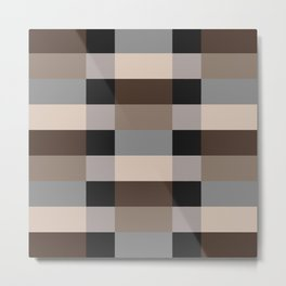 IKEA STOCKHOLM Rug Pattern - chequered, brown Metal Print