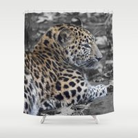 jaguar Shower Curtains featuring Jaguar by Veronika