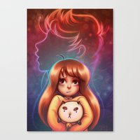 bee and puppycat Canvas Prints featuring Bee and Puppycat by Dani Taillefer