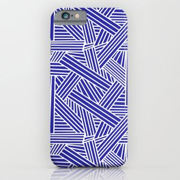 Sketchy Abstract (White & Navy Blue Pattern) iPhone Case
