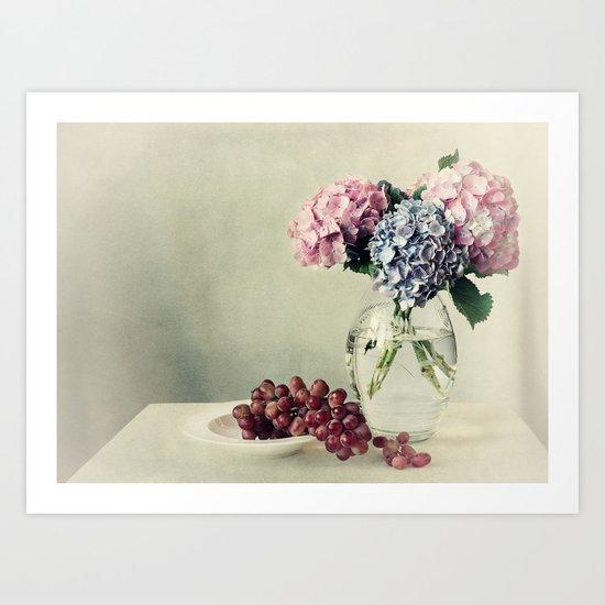 Still life with hydrangea Art Print