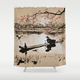 Bird Fishing Shower Curtain