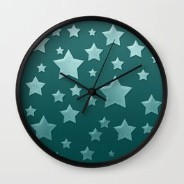 Teal Green Ombre Floating Stars and Herringbone Wall Clock