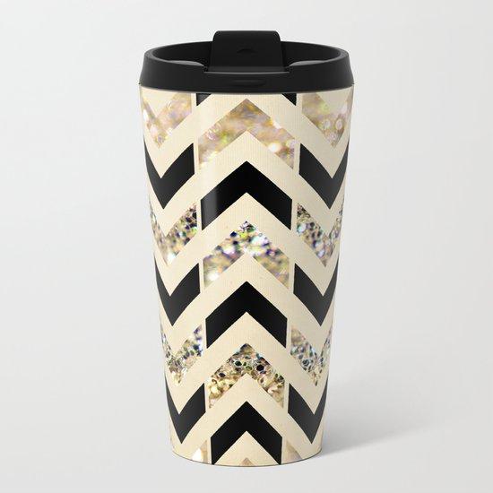 Black & Gold Glitter Herringbone Chevron on Nude Cream Metal Travel Mug
