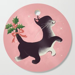 Holly Jolly Vintage Holiday Kitty Cat Cutie Cutting Board
