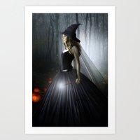 witch Art Prints featuring Witch by Julie Hoddinott