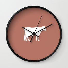 Cow: Rust Red Wall Clock