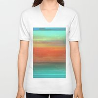 trippy V-neck T-shirts featuring Trippy Serape by Cultivate Bohemia