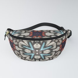 Leather Collage in Teal, Red, Black and White - 3D Macro Photo Fanny Pack