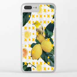 Bird & lemons yellow pattern Clear iPhone Case