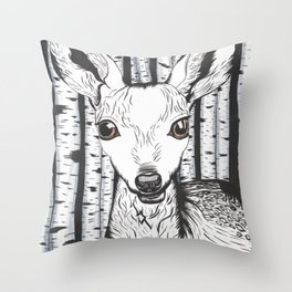 Ink and watercolor black and white doe/deer in the forest Throw Pillow