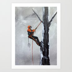 Arborist ,Tree Surgeon using stihl 020T chainsaw,husqvarna, art Art Print