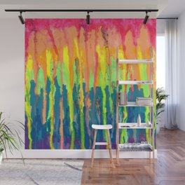 Melted Crayons Rainbow Drip Painting Wall Mural