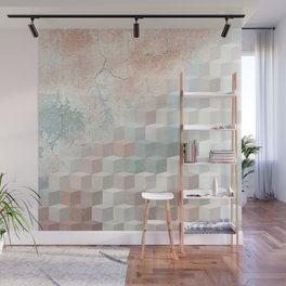 Distressed Cube Pattern - Nude, turquoise and seashell Wall Mural
