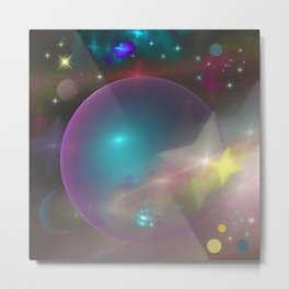 Dreamy galaxy with planets and shining stars Metal Print