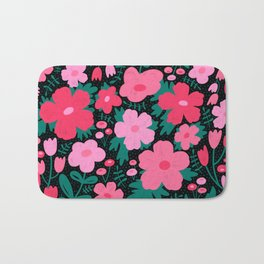 Flower bonanza - Black background Bath Mat