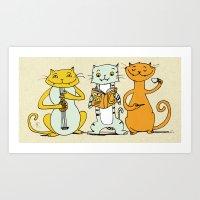 Cat Trio Art Print