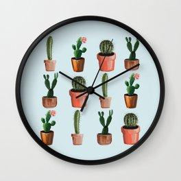 Various Cacti Light Blue Wall Clock