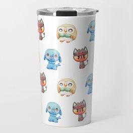 Rowlet, Litten and Popplio - Starters - Pocket Monsters Travel Mug