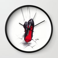 devil Wall Clocks featuring Devil Wears Lbtn by anna hammer