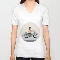 honda V-neck T-shirts featuring Honda C-70 by Al Wrath Gallery