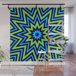 Yellow Green and Blue Psychedelic Star Pattern Wall Mural