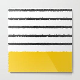 minimalism stripes yellow and grey Metal Print