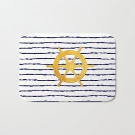 Marine pattern- Navy blue white striped with golden wheel Bath Mat