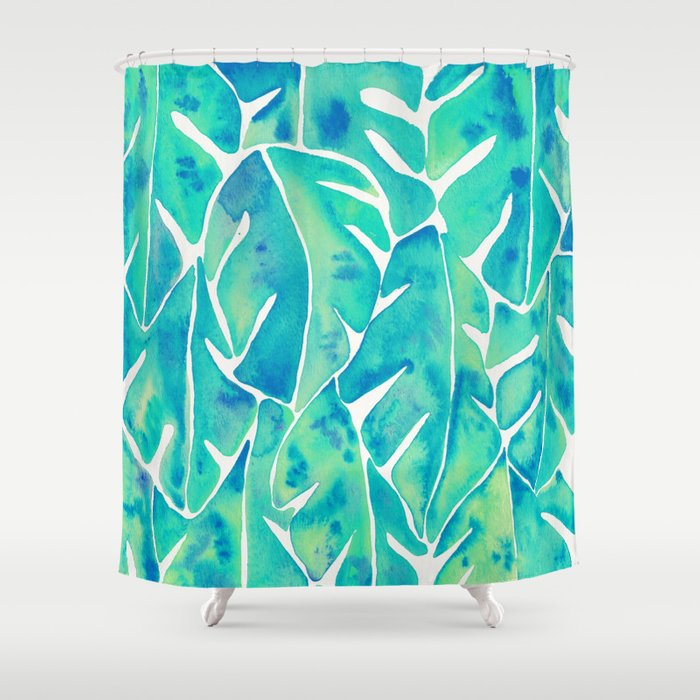 Split Leaf Philodendron U2013 Turquoise Shower Curtain