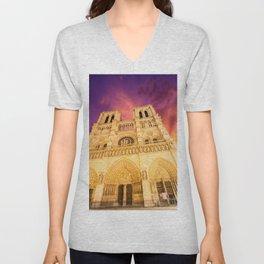 Cathedral Notre-Dame de Paris Unisex V-Neck