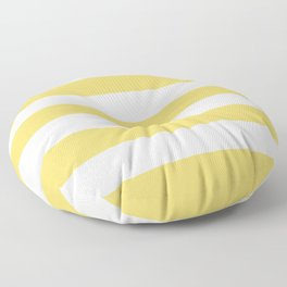 Hansa yellow - solid color - white stripes pattern Floor Pillow