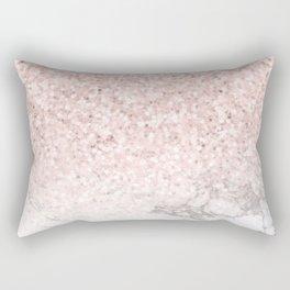 Pretty Rosegold Marble Sparkle Rectangular Pillow