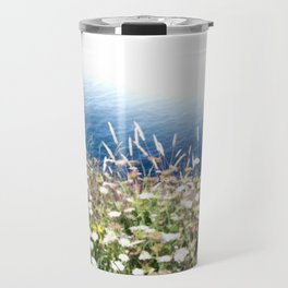 Flowers by the cliff Travel Mug