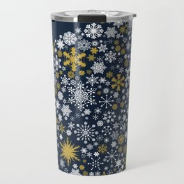 A Thousand Snowflakes in Twilight Blue Travel Mug