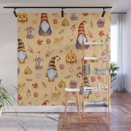Seamless pattern with vintage Halloween elements. Gnomes, pumpkins, leaves. Watercolor hand drawn Wall Mural