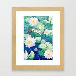 Girl Lay On Lotus Framed Art Print