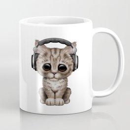 Cute Kitten Dj Wearing Headphones on Blue Coffee Mug