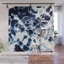 Tie Dye Sunburst Blue Wall Mural
