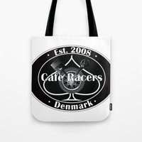 cafe racer Tote Bags featuring Cafe Racer  by Peter G. Brandt