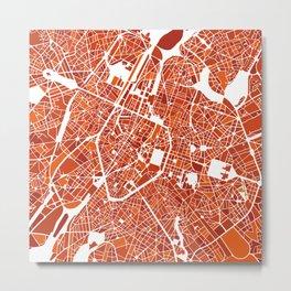 Brussels City Map III Metal Print