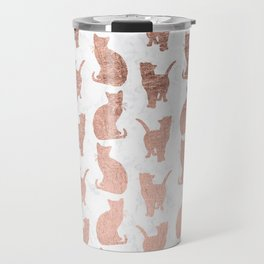 Modern faux rose gold cats pattern white marble Travel Mug