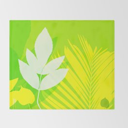 Jungle neon green Leaves Palm Yellow Throw Blanket
