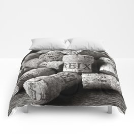 Cork of Champagne in Black and White Comforters