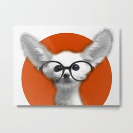 Fennec Fox wearing glasses Metal Print
