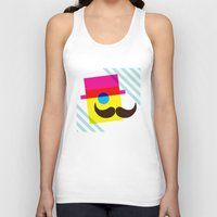 mid century modern Tank Tops featuring Mid Century Mustache Man - CMYK by Modern South Design