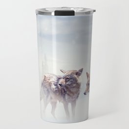 Two coyotes walking  in the winter snow Travel Mug