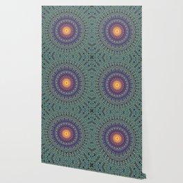 Happy Sun Circle Bohemian Geometric Thread Weave Pattern \\ Yellow Green Blue Purple Color Scheme Wallpaper