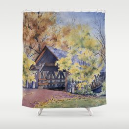 Naperville Covered Bridge in Fall Shower Curtain
