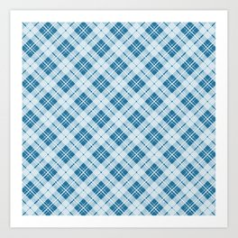 Adorable Light Blue Christmas tartan Art Print