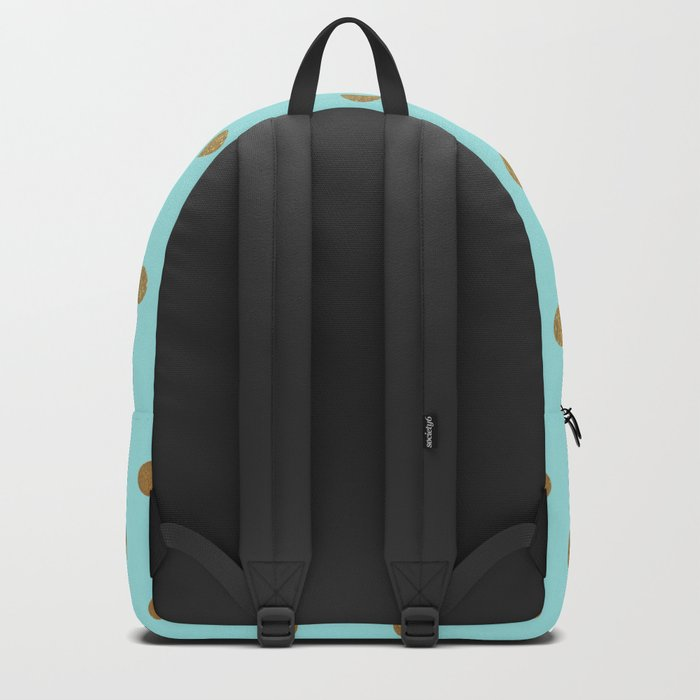 Gold polka dots on aqua background - Luxury turquoise pattern #Society6 Backpack